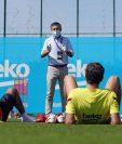 Fotografía de este sábado en el campamento del Barcelona. (Foto Prensa Libre: EFE)