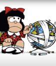 Mafalda y otros personajes de reconocidos artistas argentinos apoyan campaña de prevención del coronavirus en diarios de ese país.  Foto tomada de Youtube