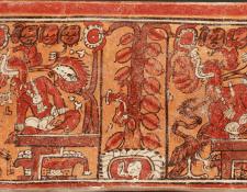Escena representada del Popol Wuj, en donde los señores del inframundo, Xibalbá, colgaron la cabeza de Hun Hunahpu de un árbol de jícaras. (Foto Prensa Libre: Colección del Museo Popol Vuh, Universidad Francisco Marroquín)