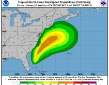 La primera tormenta en el Atlántico, que podría formarse en las próximas horas, llevará el nombre de Arthur. (Foto Prensa Libre: NHC)