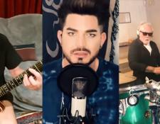 Queen y Adam Lambert en la nueva versión de  'You Are The Champions' (Nueva versión de encierro). Foto tomada del video de Youtube