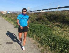 Erick Barrondo realizó su primer entrenamiento después de 53 días de estar entrenando dentro de su residencia en España. Foto Prensa Libre: Cortesía Erick Barrondo