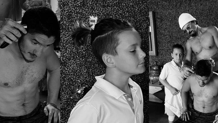 Ricardo Arjona corta el cabello de sus hijos durante el confinamiento provocado por la pandemia del nuevo coronavirus. (Foto Prensa Libre: Facebook)