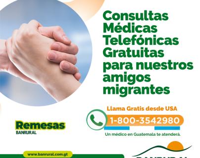 Banrural continúa apoyando a los migrantes con servicios médicos telefónicos gratuitos. Foto Prensa Libre: Cortesía