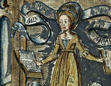 La dama de la Aritmética en una xilografía coloreada a mano de 'Margarita Philosophica' ('La perla filosófica'), de Gregor Reisch (1467? -1525).