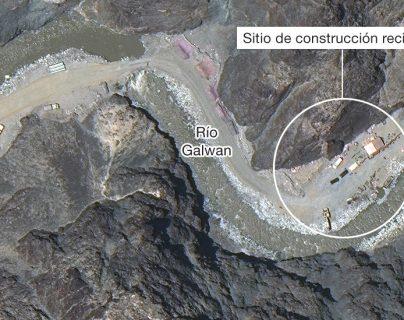 Imagen satelital de la construcción junto al Río Galwan.