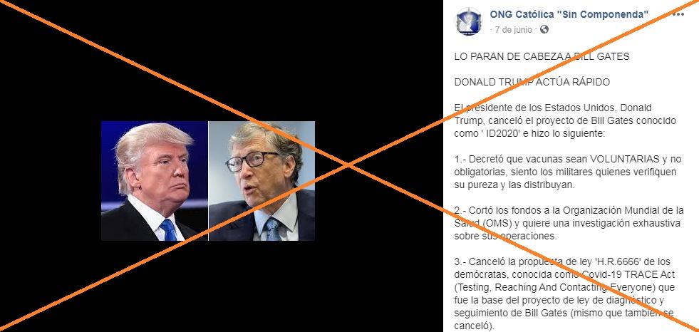 Verificamos por usted: ¿Donald Trump tomó medidas contra Bill Gates, el 5G, las vacunas y el coronavirus?