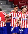 Los jugadores del Atlético de Madrid terminaron festejando. (Foto Prensa Libre: AFP)