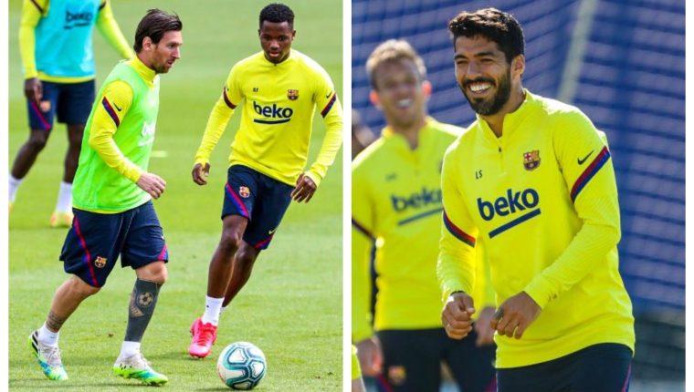 Lionel Messi y Luis Suárez estarán disponibles para jugar en el regreso de la Liga española. (Foto Prensa Libre: Twitter FC Barcelona)