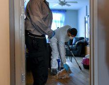 Feraz Mohammed, quien trabaja para los Centros de Cuidado Animal de la ciudad de Nueva York, acaricia a un perro mientras lo recoge en el apartamento de una residente que fue hospitalizada con síntomas de coronavirus, en Nueva York, el 15 de mayo de 2020. (Desiree Rios/The New York Times)