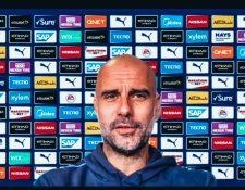 Pep Guardiola, técnico del Manchester City, no está contento con el regreso de la Premier League. (Foto Prensa Libre: Twitter Manchester City)