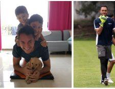 El portero guatemalteco Ricardo Jerez disfruta de los días de cuarentena con sus hijos. (Foto Prensa Libre: Ricardo Jerez)