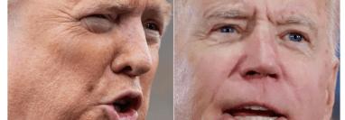Encuesta muestra que Donald Trump (izquierda) está perdiendo apoyo. (Foto Prensa Libre: AFP)