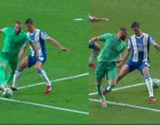 Karim Benzema en el momento que asiste a Casemiro en el gol del Real Madrid. (Foto Redes).
