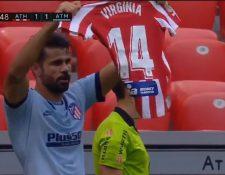 El atacante Diego Costa dedicó su gol que sirvió para empatar con el Athletic a la jugadora del equipo femenino del Atlético Virginia Torrecilla. Foto Prensa Libre: Captura de pantalla