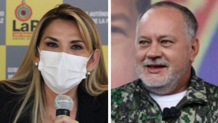 Jeanine Áñez, presidenta de Bolivia, y Diosdado Cabello, presidente de la Asamblea Constituyente. (Foto Prensa Libre: AFP)