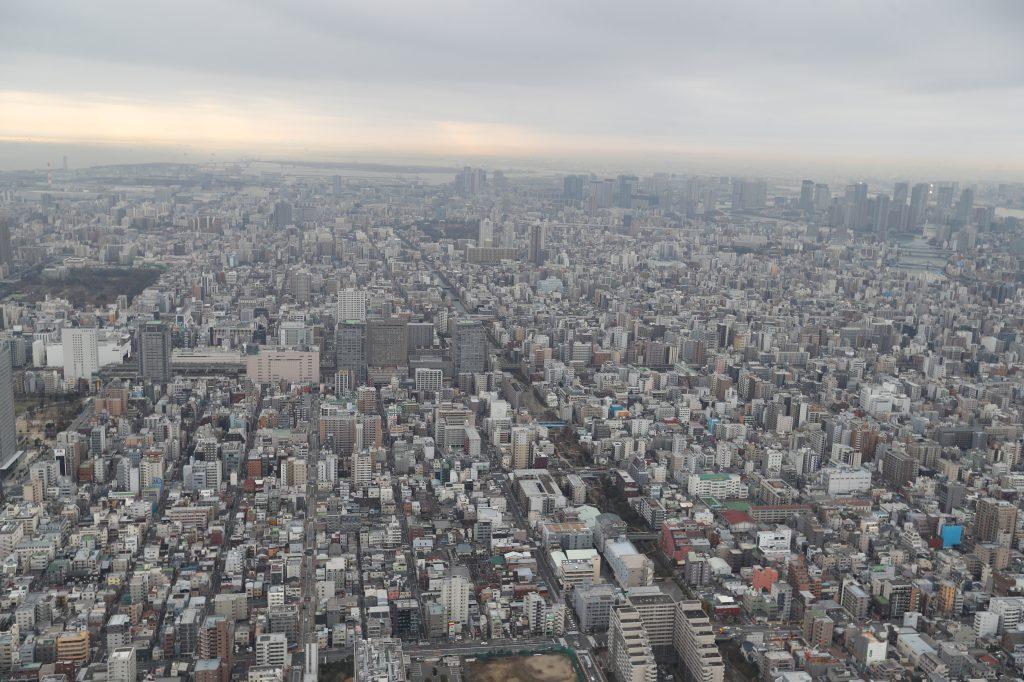 Vista de la ciudad de Tokyo desde el mirador más alto de Skytree. (Foto Prensa Libre: Daniel Guillén Flores)