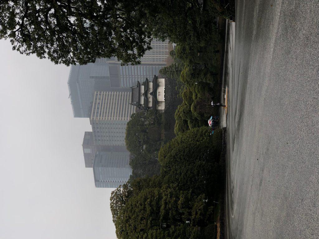 Vista de los jardines en el interior del Palacio Imperial. Al fondo los rascacielos de la ciudad de Tokyo. (Foto Prensa Libre: Daniel Guillén Flores)