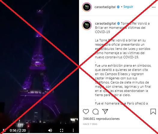 Verificamos por usted: este espectáculo en la Torre Eiffel es de 2019 y no muestra un homenaje a las víctimas de covid-19