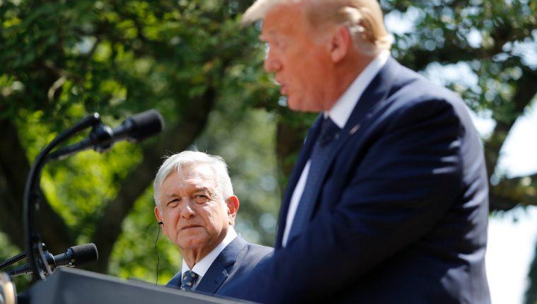 El presidente de Mëxico, Andrés Manuel López Obrador en su visita a Donald Trump en la Casa Blanca (Foto Prensa Libre: EFE)