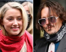"""A combination of pictures shows US actress Amber Heard (L) and her former husband US actor Johnny Depp (R) arriving on the second day of Depp's libel action against News Group Newspapers (NGN), at the High Court in London, on July 8, 2020. - Depp is suing the publishers of The Sun and the author of the article for the claims that called him a """"wife-beater"""" in April 2018. (Photo by ISABEL INFANTES / AFP)"""