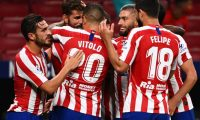 Atletico Madrid's Spanish forward Diego Costa (2L) celebrates his goal with teamates during the Spanish league football match between Club Atletico de Madrid and Real Betis at the Wanda Metropolitano stadium in Madrid on July 11, 2020. (Photo by GABRIEL BOUYS / AFP)