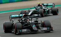 Mercedes' British driver Lewis Hamilton (front) and Mercedes' Finnish driver Valtteri Bottas steer their cars during the qualifying session for the Formula One Hungarian Grand Prix at the Hungaroring circuit in Mogyorod near Budapest, Hungary, on July 18, 2020. (Photo by Darko Bandic / POOL / AFP)