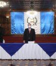 El vicepresidente Guillermo Castillo, el presidente Alejandro Giammattei y el canciller Pedro Brolo en el acto de creación del Conadeh. (Foto Prensa Libre: Presidencia)
