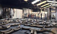 El gimnasio de los deportistas mexicanos en Guadalajara quedó destruido por el fuego. Foto Prensa Libre: Tomada de Redes.