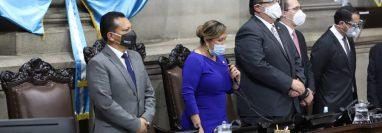La presidenta en funciones del Congreso, Sofía Hernández, suspendió la sesión extraordinaria en la que se conocería el estado de Sitio. (Foto Prensa Libre: Congreso de la República)
