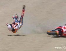 El piloto español Marc Márquez sufrió un fuerte accidente en el circuito de Jerez. Foto Redes.