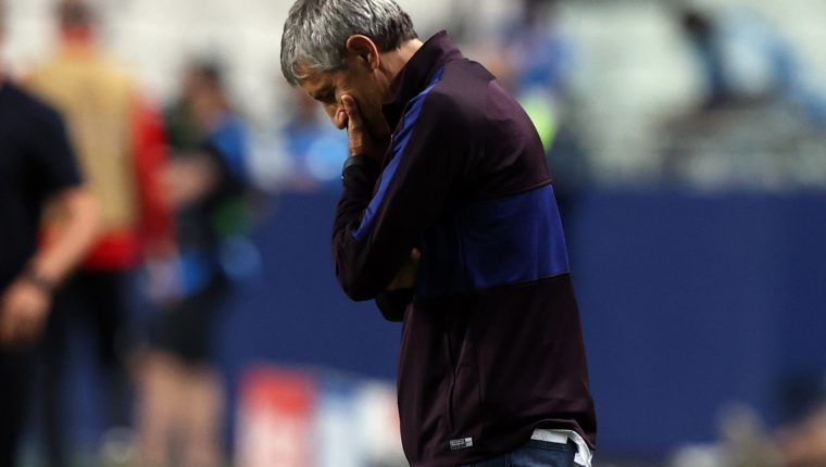 Quique Setien, entrenador del FC Barcelona. (Foto Prensa Libre: EFE)