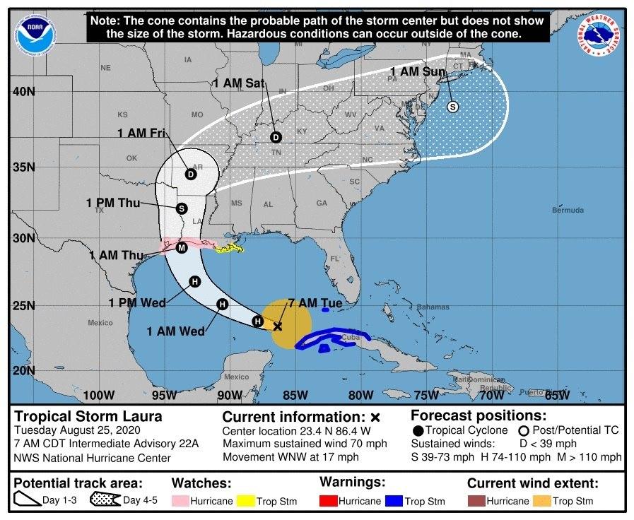 La tormenta tropical Laura se convierte en huracán categoría 1 en el Golfo de México y avanza hacia Estados Unidos