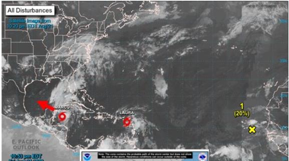 """Vista satelital de la recién formada tormenta """"Marco"""". (Foto: Insivumeh)"""