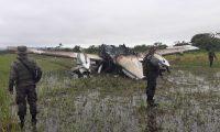 La aeronave fue localizada al sur del Parque Nacional Laguna del Tigre, en San Andrés, Petén. (Foto Prensa Libre: Ejército de Guatemala)