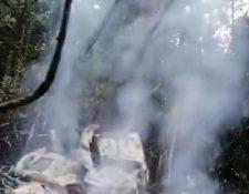 Helicóptero accidentado en Chisec. (Foto Prensa Libre: Tomada de redes sociales)