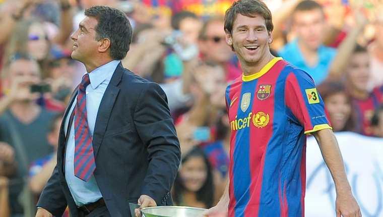 Joan Laporta y Leo Messi triunfaron juntos en el FC Barcelona. Foto Prensa Libre: Hemeroteca PL.