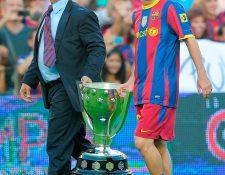 Joan Laporta y Leo Messi ya triunfaron en el FC Barcelona. Foto Prensa Libre: AFP.