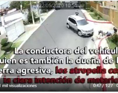 La agresión contra dos peatones fue grabada por cámaras de video vigilancia. (Foto Prensa Libre: Captura de pantalla de video)