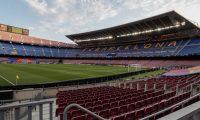 GRAFCAT551. BARCELONA, 08/08/2020.- Vista del estadio Camp Nou de Barcelona, vacío momentos antes del partido de vuelta de octavos de final de Liga de Campeones que el FC Barcelona y la SSC Nápoles disputaran esta noche. EFE/Enric Fontcuberta