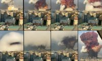 """(COMBO) This combination of pictures created on August 05, 2020 UGC footage filmed from an office building at the moment a massive explosion rocked Beirut the previous day shows shows a fireball exploding while smoke is billowing at the port of the Lebanese capital on August 4, 2020. - Emergency medical aid and pop-up field hospitals were dispatched to Lebanon along with rescue experts and tracking dogs, as the world reached out to the victims of the massive explosion that devastated Beirut, killing more than 100 people and heaping misery on a country already in crisis. (Photos by - / GABY SALEM/ESN / AFP) / RESTRICTED TO EDITORIAL USE - MANDATORY CREDIT """"AFP PHOTO /UGC/ GABY SALEM/ESN"""" - NO MARKETING - NO ADVERTISING CAMPAIGNS - DISTRIBUTED AS A SERVICE TO CLIENTS"""