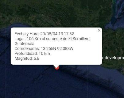 El epicentro del sismo se ubicó en las playas del Semillero, Tiquisate, Escuintla. (Foto Prensa Libre: Conred)