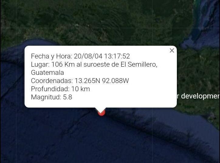 Temblor de 5.8 grados sacude parte del territorio nacional