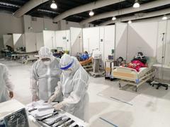 La PDH realizó una nueva verificación en el hospital temporal Parque de la Industria para atender a pacientes covid-19. Foto Prensa Libre: PDH.