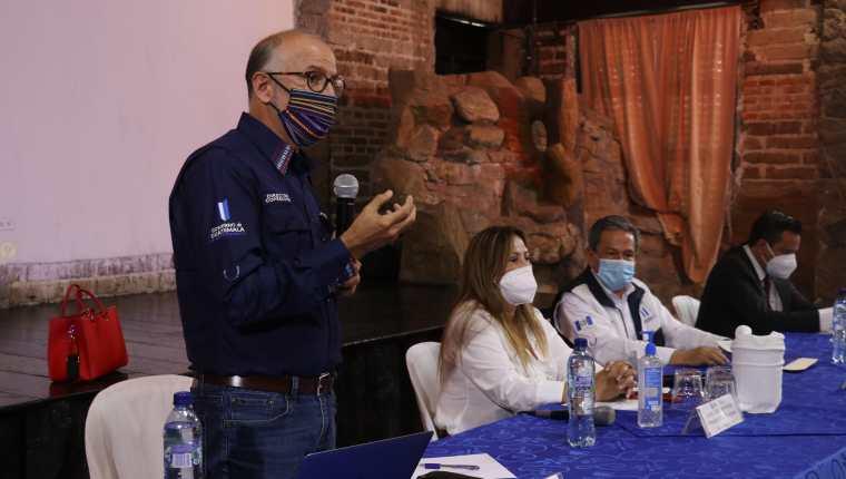 Edwin Asturias, director de la Coprecovid, se reunió con autoridades de Huehuetenango. (Foto Prensa Libre: Mike Castillo)