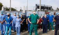 Personal medico del hospital temporal del parque de la industria, reclaman la falta de insumos y equipo que el Ministerio de Salud no les ha proporcionado.  FOTOGRAFêA: FERNANDO CABRERA