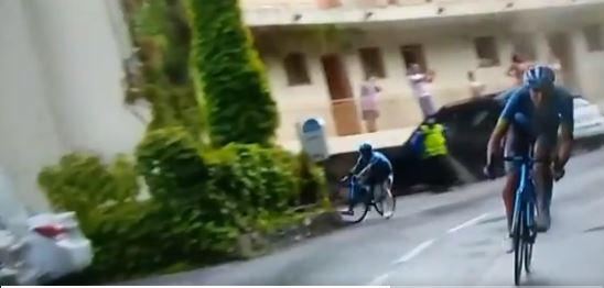 El ciclista colombiano, líder del equipo Astana, se accidentó a falta de menos de 50 kilómetros para la meta de la primera etapa del Tour de Francia. (Foto Prensa Libre: captura de video)