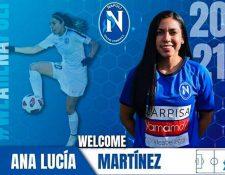 La jugadora guatemalteca Ana Lucía Martínez fue confirmada como nueva contratación del equipo Nápoli femenino, (Foto Prensa Libre: Facebook Ana Lucía Martinez)