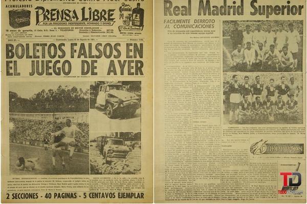 El quíntuple campeón de Europa jugó contra Comunicaciones en 1961. Foto Prensa Libre: Hemeroteca.