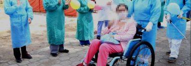 La paciente salió del intensivo del Hospital Regional de Occidente y se reencontró con su familia. (Foto Prensa Libre: Cortesía HRO)